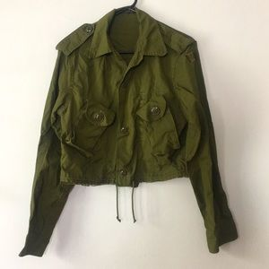 Vintage Army Jacket Cropped Women's Size Large